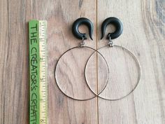 These beauties are made from vintage bangle bracelets <3 You will get a set of you choice. The hooks are made to order from hand crafted polymer clay. Shown in 0g black. You may customize these hooks. If you would like a custom color, just leave it in the box note to seller  with you order Check out my other gauged earrings!!! http://www.etsy.com/shop/TheCreatorsCreations  These are made to order These earrings are a work of art, each set is unique.    ☆•*¨*•¸¸¸.•*¨*•☆•...
