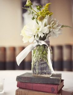 Click Pic for 27 DIY Wedding Centerpieces - Stacked Books | DIY Wedding Decorations on a Budget