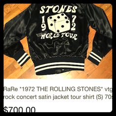 Vintage MINTROLLING STONES tour CoatPRICE FIRM Vintage MINT condition ROLLING STONES tour Coat. Black Satin. For the rolling stones and give the gift like no other very rare!!! Not UB 4 EXP. AWESOME COAT!! One of a Kind!! AUTHENTIC TOUR JACKET!! Urban Outfitters Jackets & Coats Puffers