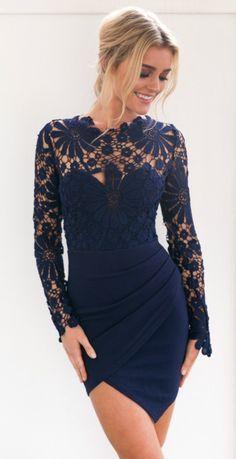 8d20e515778 Women s Floral Lace Paneled Bodycon Dress Navy Bodycon Dress