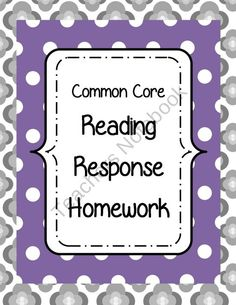 Common Core Aligned-Reading Response Homework from Fabulous in Fourth on TeachersNotebook.com (4 pages)  - Reading Response Homework-better than the normal reading log, write responses to any fiction book