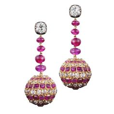 19th Century Ruby Diamond Pendant Earrings 1