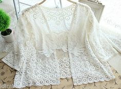 Sexy Women Sheer Sleeve Embroidery Lace Crochet Floral T Shirt Casual Top Blouse