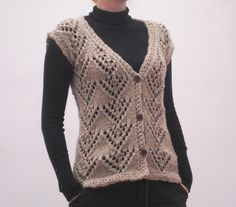 Hand knit woman's wool vest, sleevless cardigan