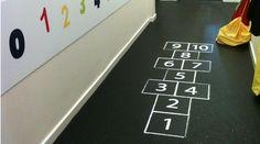 School/Nursery corridor hopskotch floor sticker. This fun interactive floor sticker is a great way to encourage  children to learn and play indoors.