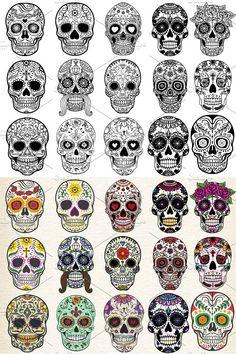 Sugar skulls set isolated vector for your ideas! --- Sugar Skulls in colourful style --- Sugar Skulls in black & white Mexican Skull Tattoos, Sugar Skull Tattoos, Mexican Skulls, Day Of The Dead Skull Tattoo, Skull Girl Tattoo, Sugar Skull Girl, Sugar Skulls, Body Art Tattoos, Sleeve Tattoos