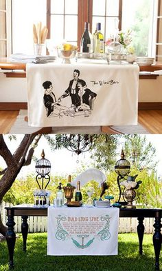 Diy Crafts Ideas : Wine Bar  love these printed table banners!