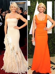 After going gold in a shimmering metallic Gucci number, Cameron Diaz switched to a simple Victoria Beckham orange tank gown and swapped her necklace for equally dazzling danglers. More Oscar fashion: http://bit.ly/wIoDwU