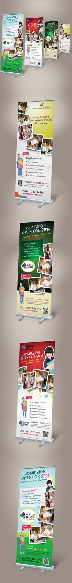 Junior School Promotion Roll-up Banners on Behance School Template, Rollup Banner, Wayfinding Signage, Print Ads, Brochure Design, Banner Design, Promotion, Projects To Try, Web Design