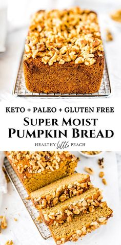 Now you can have your cake and eat it too with this amazing Keto, Paleo and Gluten Free Pumpkin Bread. It is exploding with all the fall flavors and is extremely moist. It will make you question how it is low in sugars and carbs. Healthy Pumpkin Bread, Keto Banana Bread, Gluten Free Pumpkin Bread, No Bread Diet, Best Keto Bread, Paleo Bread, Pain Keto, Easy Keto Bread Recipe, Keto Friendly Bread