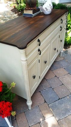 Painted Black Walnut Buffet Sideboard, Painted Furniture, Annie Sloan, Antique Walnut Gel Stained top