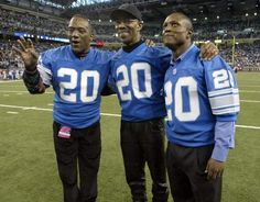 three Lion greats sims - Barney and Sanders * Nfl Detroit Lions, Detroit Sports, East Lansing, Different Sports, Nfl Fans, World Of Sports, Sport Wear, American Football