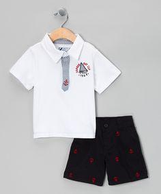 Kristine -- White Anchor Polo & Shorts - Infant