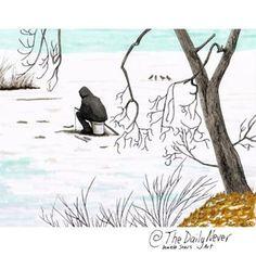 Ice Fisherman. I was so drawn to the view of this solitary man on the local pond. The original is now up on etsy.com/shop/thedailynever (link in bio)•••#meditativeart #magicalart #artheals #whimsicalart #fairytaleart #artfromthesoul #artfromtheheart #intuitiveart #innerportrait #spiritart #artartart #artvision #artstudio #illustrationstyle #winterart #originalartwork #creativeenergy #artmaking #newenglandartist #joyfulart #passioncolorjoy #weareallartists #creativecourage #smallworks #copica