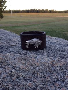 Leather cuff bracelet with buffalo by SweetgrassValley on Etsy