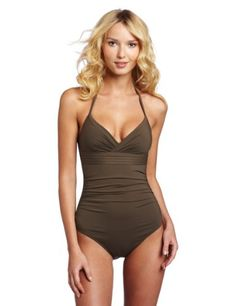 Calvin Klein Women's Solid Pleat Band Shirred Swimsuit. So cute and I love the color.