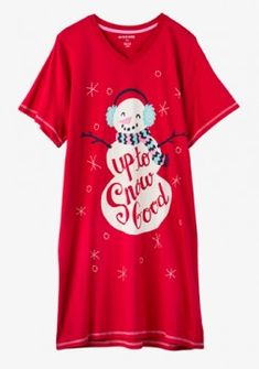 """Hatley Nature """"Up To Snow Good"""" Women's Nightshirt in Red"""
