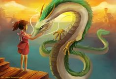 Always loved Spirited Away... This picture of the dragon-Haku and Chihiro makes me wanna watch it all over again!