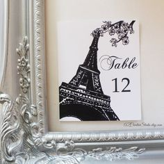 Paris Spring Table Numbers for Weddings Receptions Bridal Shower Baby Shower Blossoms Floral French Flowers Party Decor. $25.00, via Etsy.