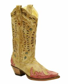 Women's Antique Saddle/Red Butterfly Inlay Boot - R2292  218.95