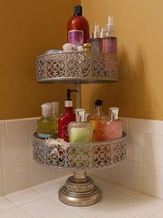 Use cake stands to declutter your bathroom counter.