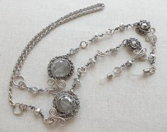 Silver gray eyeglass chain  Eyeglass chain Sunglasses chain necklace Reading glasses chain Eyeglass holder necklace Wire wrapped chain