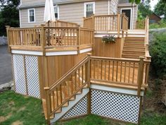 In terms of the home decor, deck primarily works as your living area's extension. However, a lot of people tend to overlook the skirting. That is why we gathered up some of the mesmerizing deck skirting ideas for you. Wooden Staircase Design, Deck Railing Design, Wooden Staircases, Railing Ideas, Wood Railing, Stairways, Cool Deck, Diy Deck, Connecticut