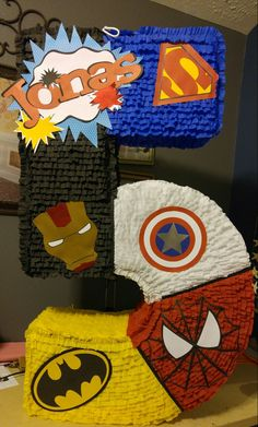 My version of a Superheroes piñata (iron man,superman,batman,spiderman & captain America)