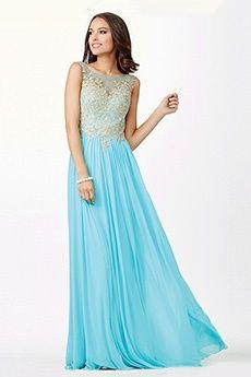 A-Line/Princess Jewel Sweep/Brush Train Chiffon Prom Dress