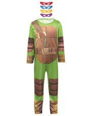 Teenage Mutant Ninja Turtles costume! He can dress up as Leonardo, Donatello, Raphael or Michelangelo in this cool Teenage Mutant Ninja Turtles costume. The all-in-one jumpsuit features an all over graphic print with 4 coloured foam eye masks, providing him with 4 heroic options to dress-up as.