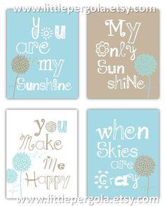 Dandelion Art You are my sunshine Light Blue and by LittlePergola, $55.00