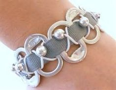 Pop Soda Can Tab Bracelet with Gray ribbon Recycled by ...