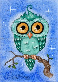 ORIGINAL teal Owl  ACEO painting by Amy Brown by AmyBrownArt, $20.00