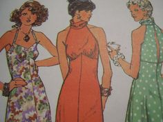 Vintage 1970's Simplicity 6510 Halter Dress Sewing by TheLastPixie, $12.50