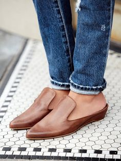 Free People Open Road Slip-On Flats in Tan Leather