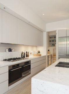 Controversies about utility of marble aside - practical kitchen (shelf above cooking/prep area; scullery; carved drainage channels next to sink).