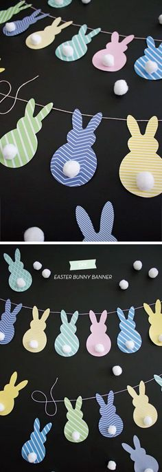 Easter Bunny Banner DIY Spring Decorations for the Home Easter Art, Hoppy Easter, Easter Crafts, Easter Bunny, Easter Eggs, Spring Crafts, Holiday Crafts, Kids Crafts, Diy Ostern