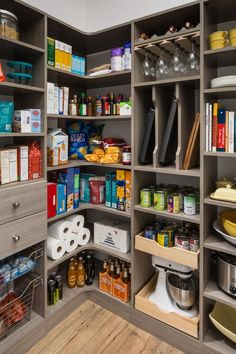 kitchen decor 20 Brilliant Corner Shelves Ideas - Trendecora - Why is it so easy to buy things and so hard to find places to put them? Kitchen Pantry Design Ideas – There are some common pantry designs. One of the most popular is a walk-in pantry. Kitchen Pantry Design, Kitchen Organization, Diy Kitchen, Kitchen Storage, Kitchen Decor, Organization Ideas, Sage Kitchen, Storage Ideas, Kitchen Ideas