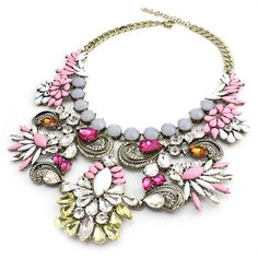 Crystal Bohemian Pink Statement Necklace