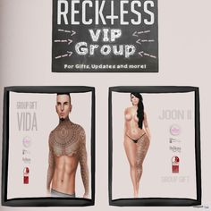 Vida and Joon II Tattoos for Men and Women May 2015 Group Gift by Reckless - Teleport Hub Vip Group, Second Life, Men And Women, Tattoos For Guys, Unisex, Gifts, Favors, Presents, Gift