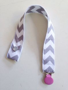 Pacifier clip  gray and white chevron  by MazieandHazel on Etsy, $5.00