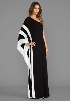 RACHEL ZOE Azur One Shoulder Maxi Dress in Black & White - New