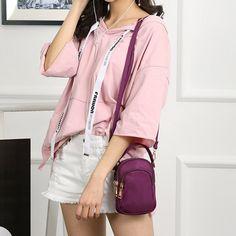 8280552a47 Hot-sale designer Women Nylon Waterproof Multi- Slot Solid Crossbody Bag  Mini Portable Phone