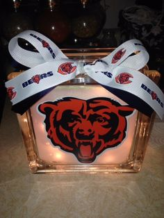 Bears lighted glass block.  One of my lighted glass blocks! Check out my store on Etsy called IrwinRags!