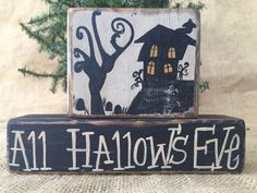 Primitive Country Haunted House All Hallow's Eve Shelf Sitter Wood Block Set #PrimtiveCountry
