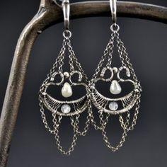 BAROQUE | Monika Kraczek  Wire-wrapped earrings. Silver, labradorite and agate. Buy: www.monikakraczek.com