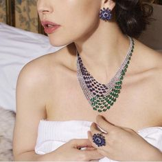Lebanese designer creates unusual jewellery that got featured in century jewellery design' book. Jade Jewelry, Jewelry Tools, Bridal Jewelry, Jewelry Design, Jewelry Sets, Diamond Necklace Set, Diamond Pendant, Diamond Jewelry, Chanel Pearls