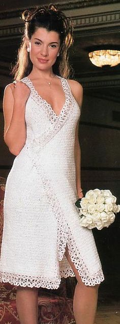 Simple white wrap crochet dress w/ lace edging - looks simple enough to copy without a pattern Gilet Crochet, Crochet Lace, Crochet Stitches, Crochet Patterns, Knit Dress, Dress Skirt, Crochet Wedding Dresses, Crochet Dresses, Nice Dresses