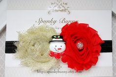 Snowman Headband, Baby Christmas Headband, Red and Gold Headband, Sparkly Headband, Glitter Headband, Party Headband, Sparkle Headband by SpunkyBunny on Etsy