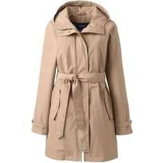 Lands' End Women's Petite Metro Rain Coat ($159) ❤ liked on Polyvore featuring plus size women's fashion, plus size clothing, plus size outerwear, plus size coats, outerwear, jackets, tan, tan coat, lands end raincoat and mac coat